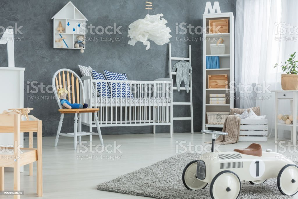 Boy room with cot stock photo