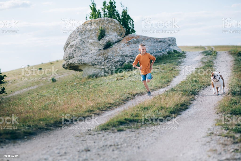 Boy running on the field with the bull dog in mountains foto de stock royalty-free