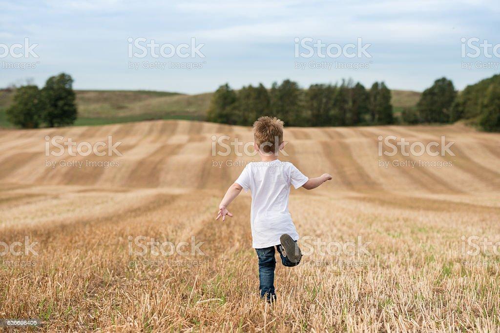 Boy running through cut crops stock photo