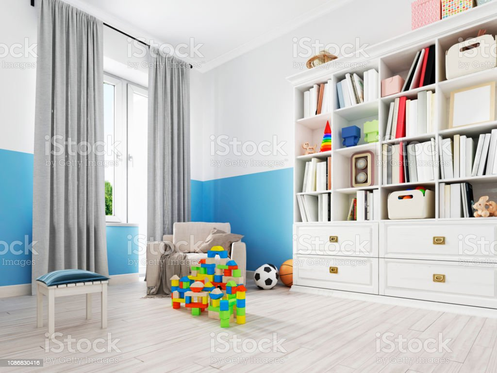 Boy S Bedroom Interior With A White Wall Like Bed Cabinet
