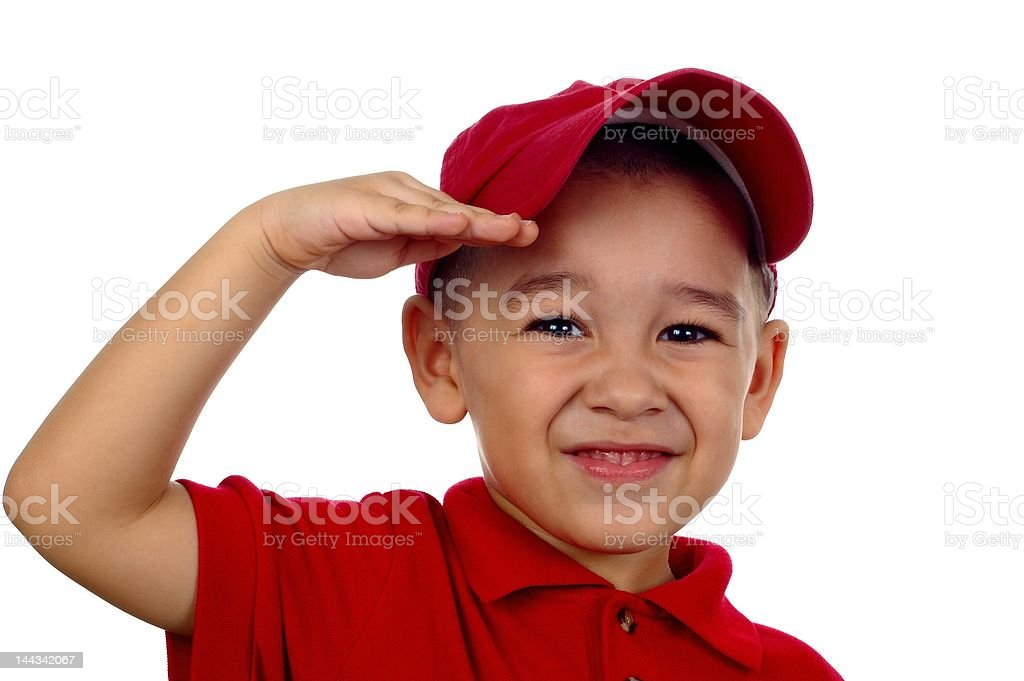 boy saluting, 4 years old royalty-free stock photo