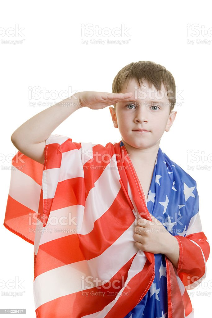 Boy saluting royalty-free stock photo