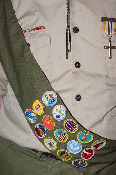 Boy Scout Achieves Merit Badges And Honors stock photo