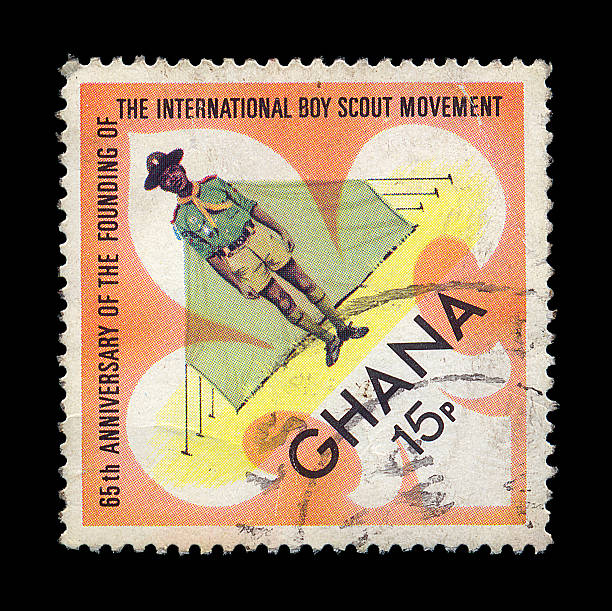 boy scout postage stamp stock photo
