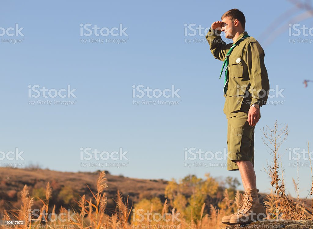 Boy Scout Standing on Rock Watching Over the Field stock photo
