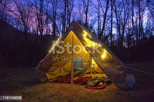 Boy Scout Wall tent glamping in the Blue Ridge Mountains near Asheville. Camping