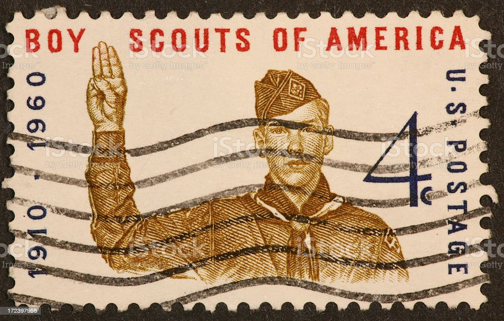 Boy Scouting stamp stock photo