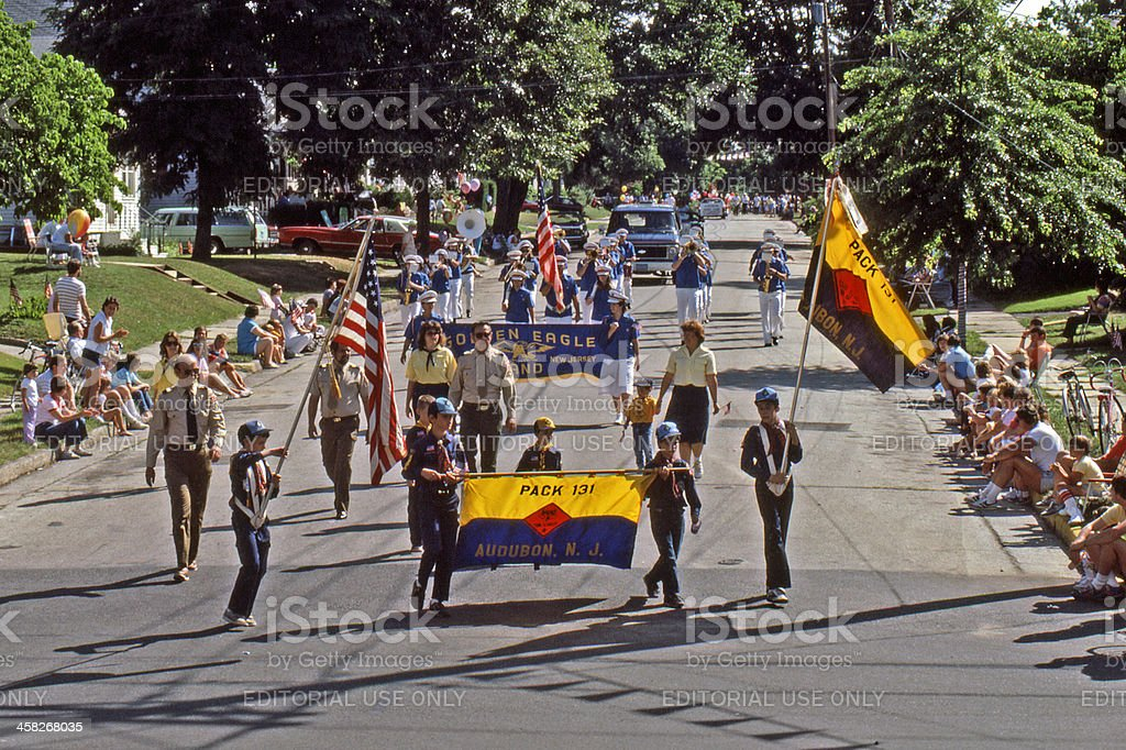 Boy Scouts in the parade. stock photo