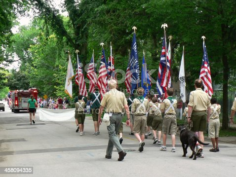 istock Boy Scouts marching in Fourth of July parade 458094335