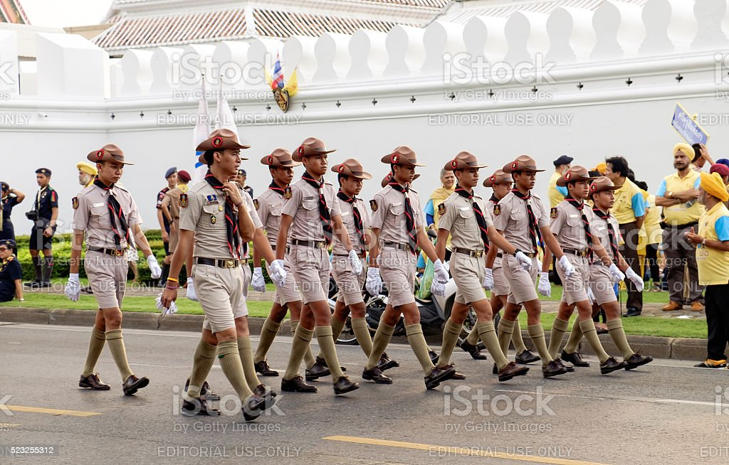 Boy scouts participates in the parade, Bangkok, Thailand. stock photo