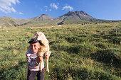 boy shepherd and lamb