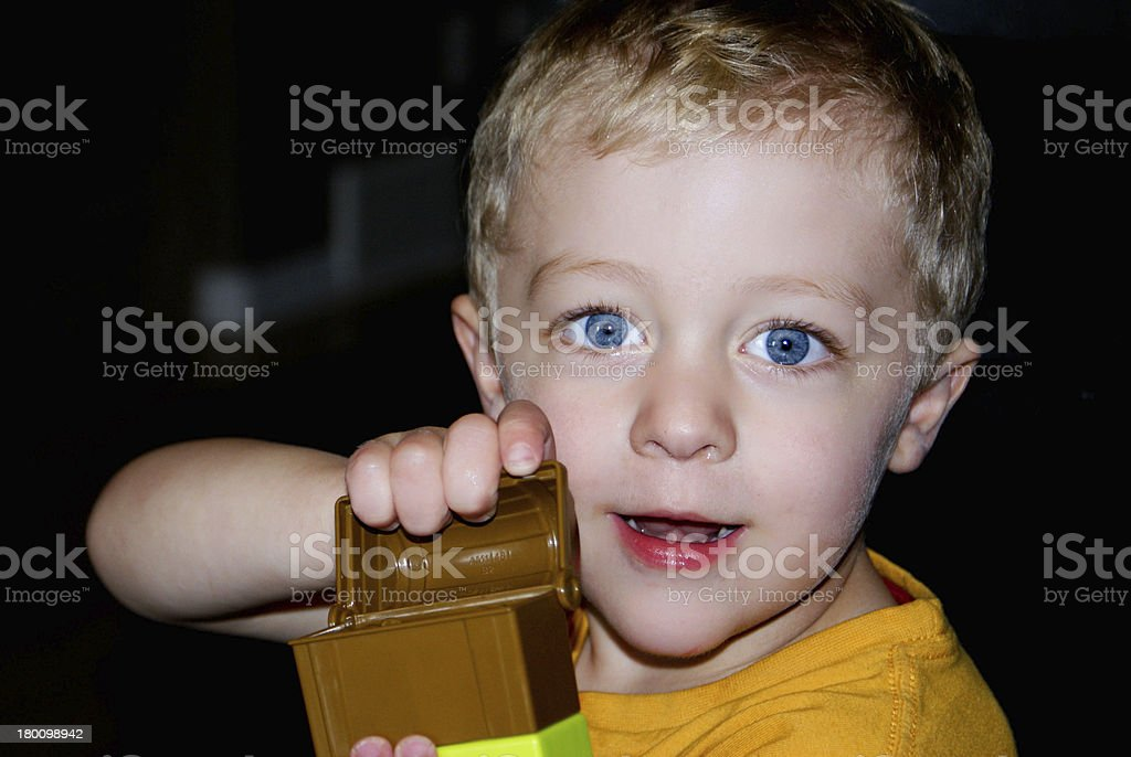 Boy Showing Treasure Box stock photo