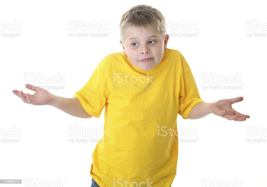 Boy Shrugging on White Background royalty-free stock photo