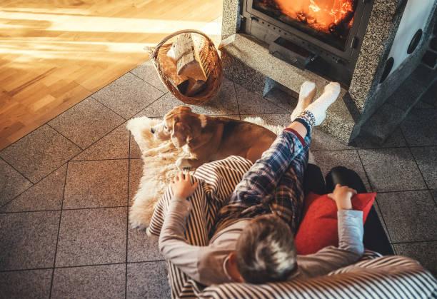 Niño sentado en cómodo sillón en acogedora casa de campo cerca de la chimenea y disfrutando de un ambiente cálido y movimientos de llamas. Su perro amigo beagle acostado al lado de la piel de oveja blanca. - foto de stock