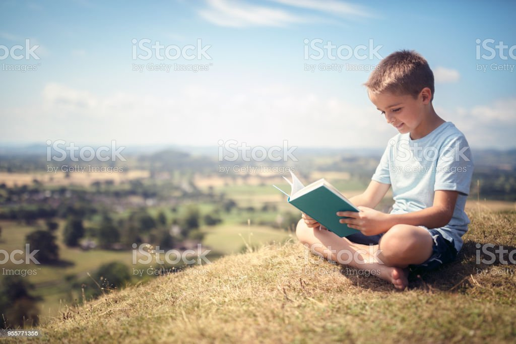 Boy sitting on a hill reading a book in a meadow stock photo