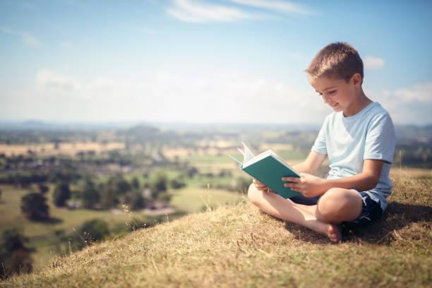 Junge sitzt auf einem Hügel, in einem Buch auf einer Wiese – Foto