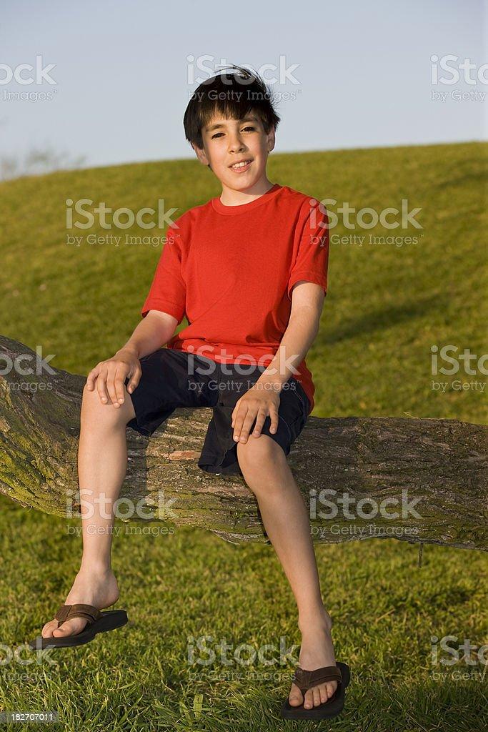 Menino sentado em um galho de árvore - foto de acervo