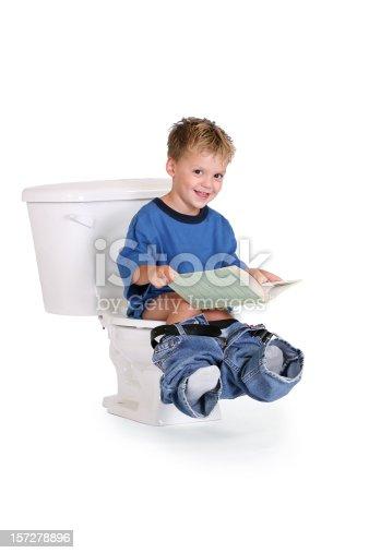 Asian Boy Sitting On Toilet Bowl Stock Photo - Image of