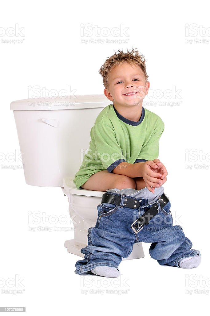 Boy Sitting On Toilet Stock Photo - Download Image Now