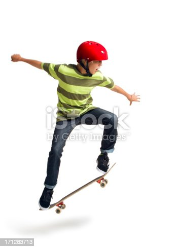 This is a photo of a 14 year old boy performing an ollie on a skateboard taken in the studio on a white background.Click on the links below to view lightboxes.