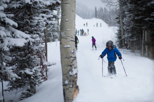Boy skiing of the mountains Activity for kid. stock photo