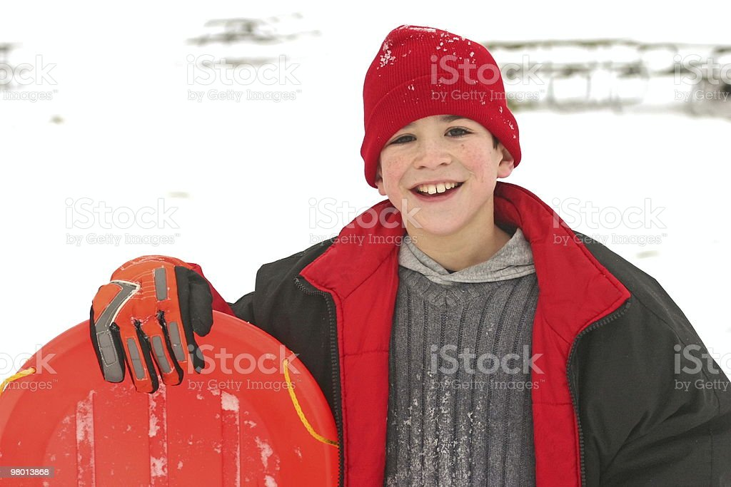 Boy Sledding royalty free stockfoto