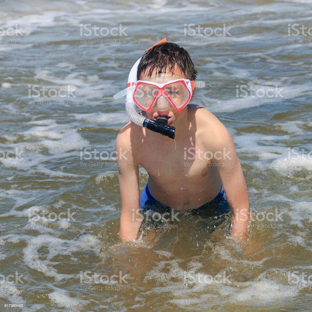 Boy Snorkeling. stock photo