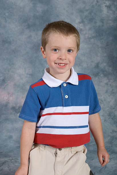 Boy Standing School Pose Close-up stock photo