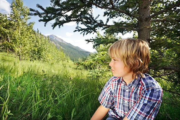 Boy staring out from under a tree stock photo