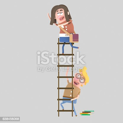 Boy student holding ladder