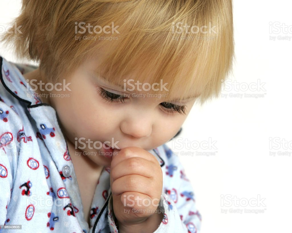 Boy sucking thumb royalty-free stock photo