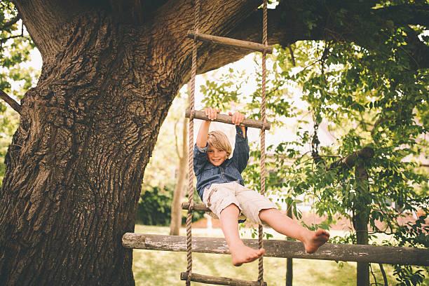 boy swinging in a rope ladder from tree in park - schommelen bungelen stockfoto's en -beelden