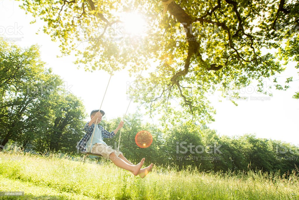 Boy swinging in forest stock photo