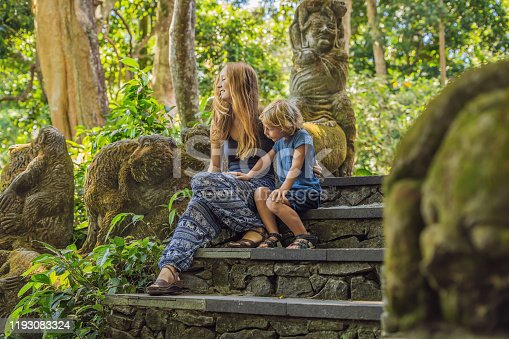 Boy tourist discovering Ubud, Bali Indonesia. Traveling with children concept.
