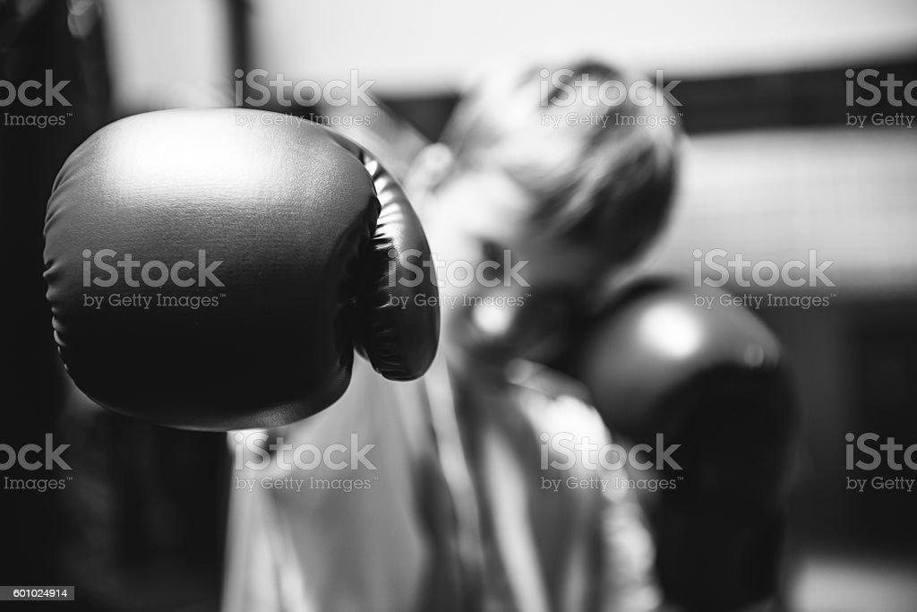 Boy Training Boxing Exercise Movement Concept stock photo