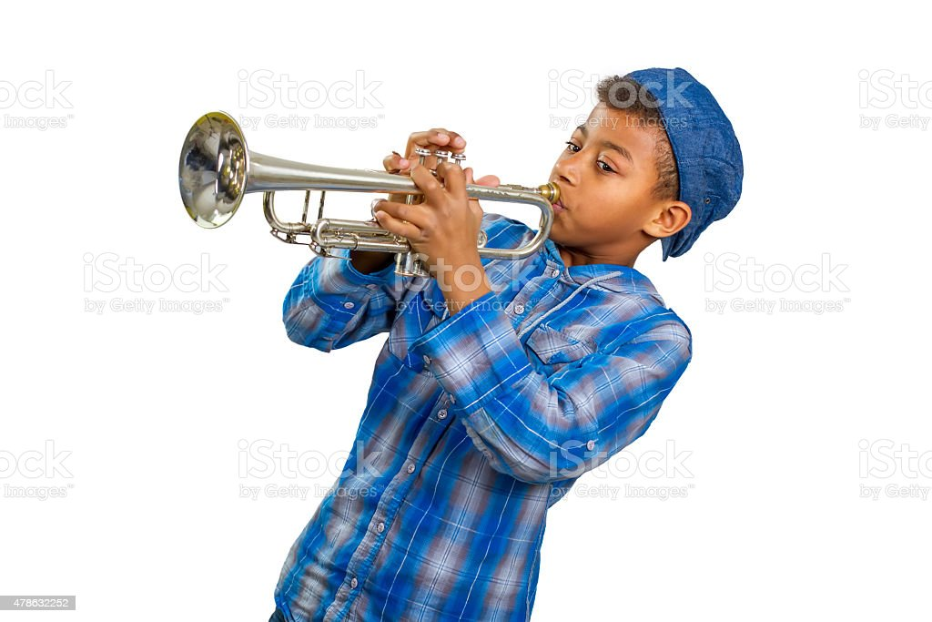 Boy trumpeter. stock photo