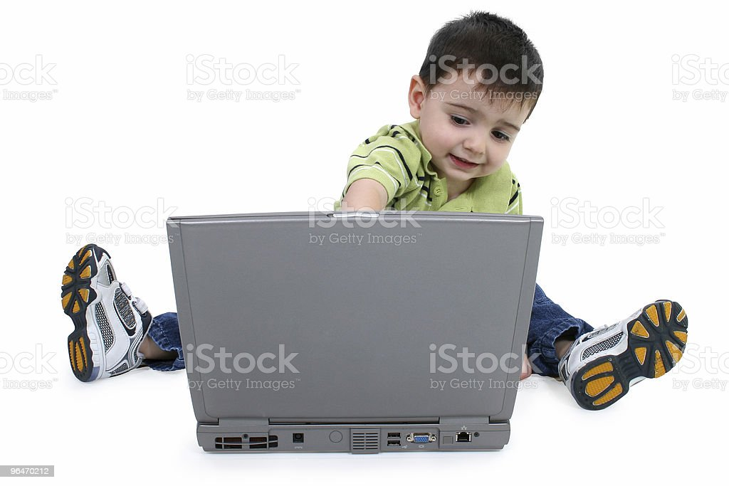 Boy Using Laptop with Clipping Path royalty-free stock photo