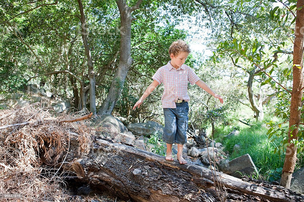 Boy walking on log royalty-free stock photo