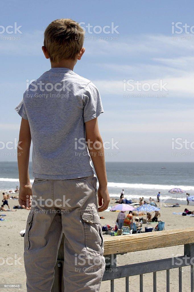 Boy Watching Beach royalty-free stock photo