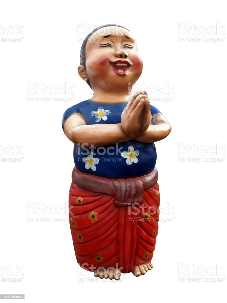 Boy Wear Blue Tshirts And Red Loincloth Smiling And Put Hands