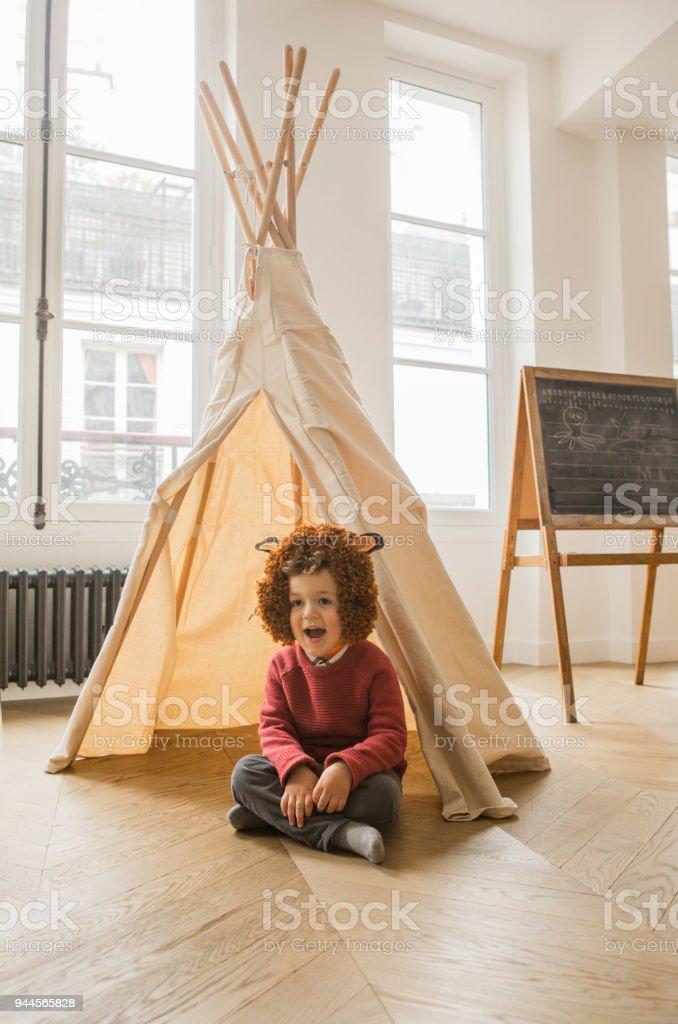 Boy wearing costume stock photo