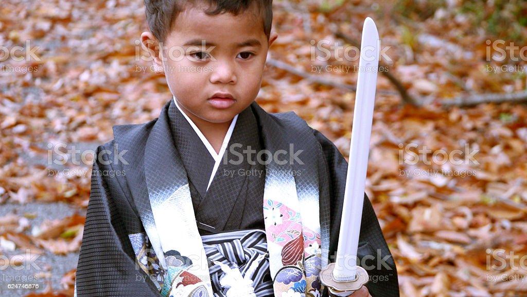 Boy wearing Japanese traditional KIMONO stock photo