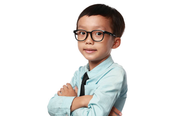 Junge trägt Hemd und Krawatte, Porträt – Foto