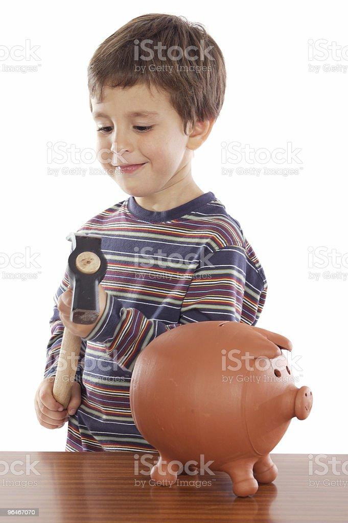 boy whit  money box royalty-free stock photo