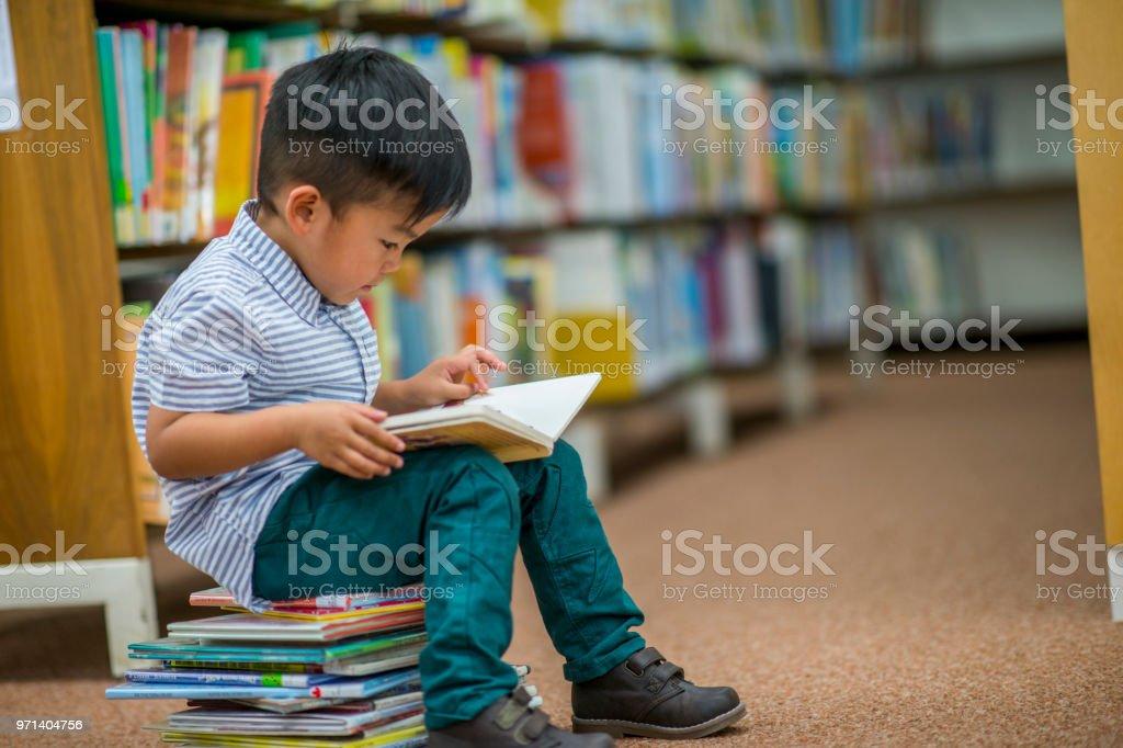 Boy Who Loves Reading stock photo