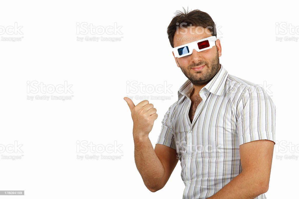 Boy with 3D glasses royalty-free stock photo