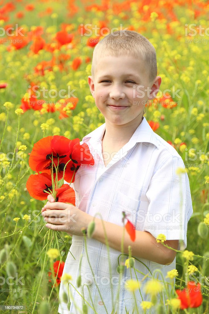 boy with a bouquet of flowers royalty-free stock photo