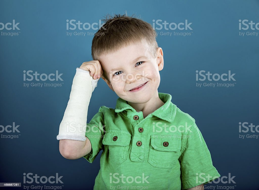 Boy with a Broken Wrist stock photo