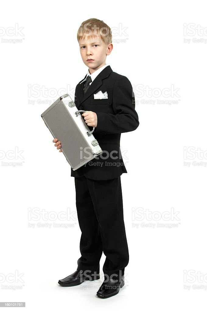 Boy with a case. royalty-free stock photo