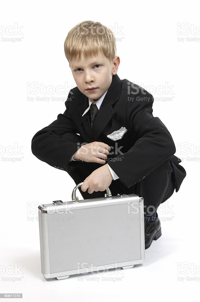 Boy with a case. stock photo
